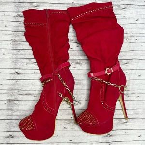 ALBA Red Slouchy Studded High Heel Boots Size 11